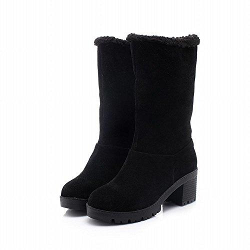 Latasa Mujeres Faux Suede Chunky Heel Pull En La Mitad De La Pantorrilla Winter Snow Botas Black