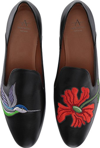 Aquatalia Women's Emmaline Embroidered Calf Slipper, Black, 5.5 M M US