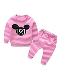 Mud Kingdom Toddler Girls Letters Fleece Sweater and Pants Outfits