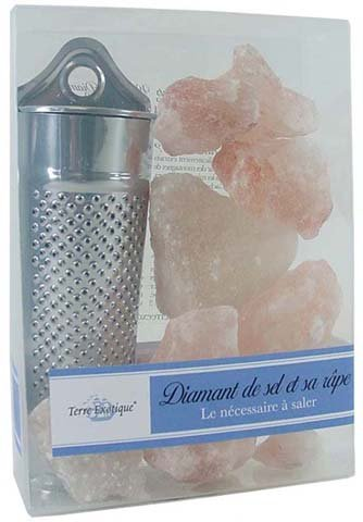 Terre Exotique Diamond Salt in Chunks with Grater - complete salt set in gift box