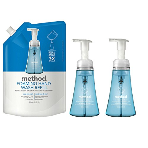 (Method Naturally Derived Foaming Hand Wash Sea Minerals Bundle - Includes: 28 OZ. Refill Pouch & Two 10 OZ. Dispensers)