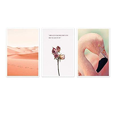 3 Panel Pink Flamingo Desert and Flower with Quotes x 3 Panels, Made With Top Quality, Fascinating Piece