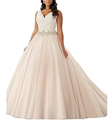 Beauty Bridal Plus Size V Neck Lace Bridal Gown Wedding Dresses