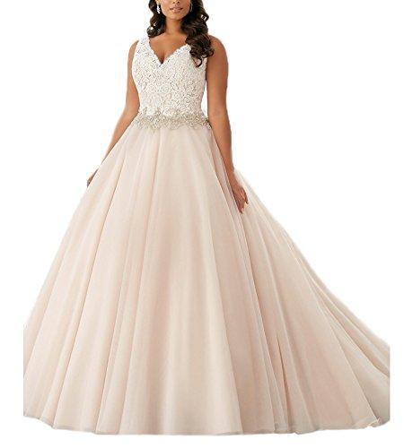 Beauty Bridal Plus Size V Neck Lace Bridal Gown Wedding Dresses