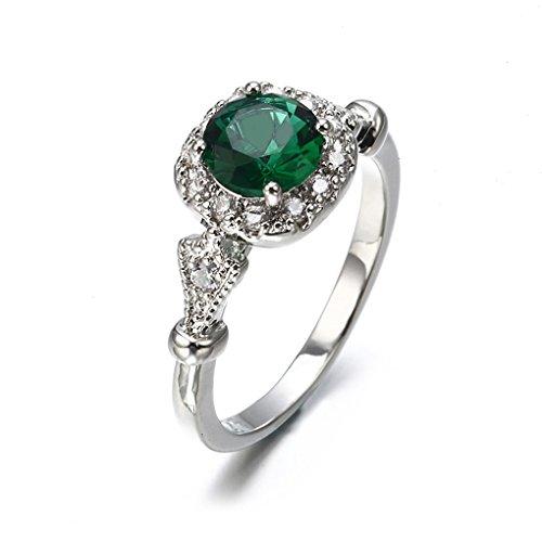 CanVivi Imitation Emerald Micro Inlaid Meteorite Ladies Engagement Ring...