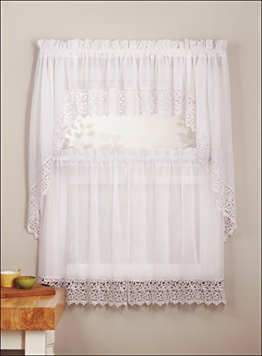 (Mk Collection 3pc White Crushed Kitchen/cafe Curtain Tier and Swag Set)