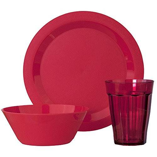 Cambridge Plate, Bowl and Tumbler Dinnerware 12 Piece Set Red (Red Plates Set)