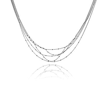 Sterling Silver Mixed Chain 5-Strand Graduated Necklace Bib 18 Inch from uGems