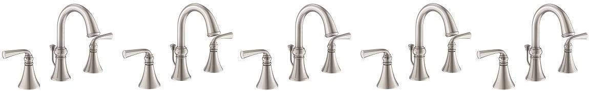 Moen WS84855SRN Wetherly Two-Handle Widespread Bathroom Faucet with Valve Included, Spot Resist Brushed Nickel 5- Pack