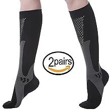 Compression Socks for Men & Women (2 Pairs), SGIN (20-30 mmHg) Great for Medical, Nursing, Travel, Flight, Shin Splints,Boost Stamina sock, Circulation,& Recovery