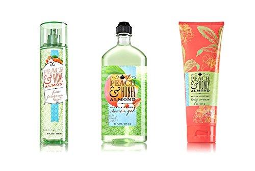 Bath & Body Works Peach & Honey Almond Body Mist 8 FL OZ, Shower Gel 10 FL OZ, Body Cream 8 (Honey Almond Scent)