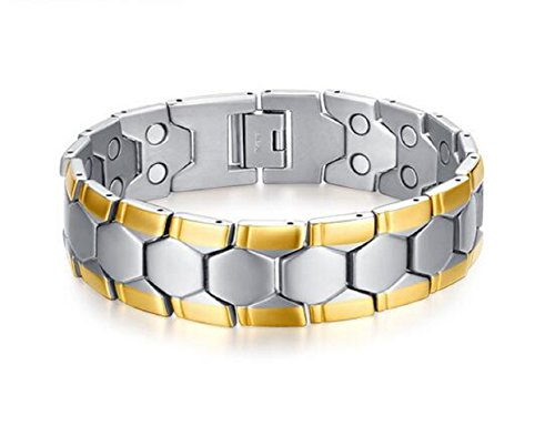 [Yuriao Jewelry Double Row Magnet Personality Stainless Steel Bracelet] (Gumdrop Costume Ideas)