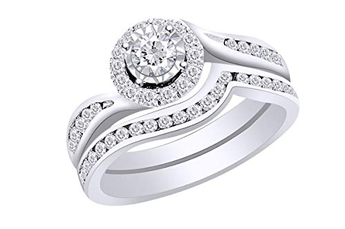 Wishrocks 3/4 Cttw Round Natural Diamond Swirl Bridal Wedding Engagement Ring In 14k White Gold Band Set Ring Size-11.5