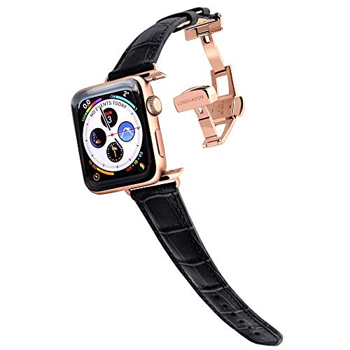 Longvadon Women's Caiman Series Watch Band - Compatible with Apple Watch Series 1, 2, 3 & 4 - Genuine Top Grain Leather (Midnight Black, Gold, 38/40 - XS)