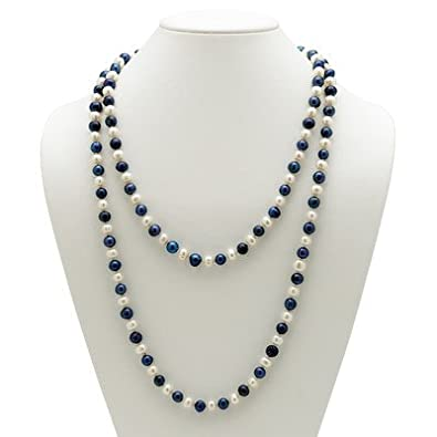 3f40b8c5d Amazon.com: Navy Blue and White Cultured Pearl Necklace: Pearl Strands:  Jewelry
