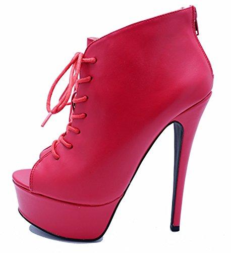 Damen rote Reißverschluss Plateau PeepToe zum Schnüren