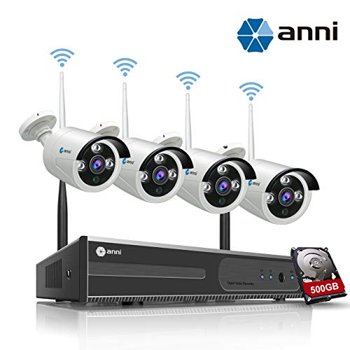 i NVR Kit Wireless Security Camera CCTV Surveillance Systems,(4) 1.0MP Megapixel Weatherproof Wireless Bullet IP Cameras,65ft Night Vision,P2P,No Video Cable Needed,with 500GB HDD ()