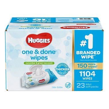 Branded Huggies One & Done Baby Wipes, Scented (952 Ct.) (Bulk Qty at Whoesale Price, Genuine & Soft) by HUGGIES