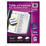 Avery Ready Index Table of Contents Dividers 11129, Black/White, 31-Tab Set