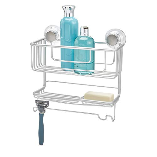 (InterDesign Metro Metal Turn-N-Lock Suction 2-Tier Caddy, Bathroom Shower Combo Basket for Shampoo, Conditioner, Soap, 10.5