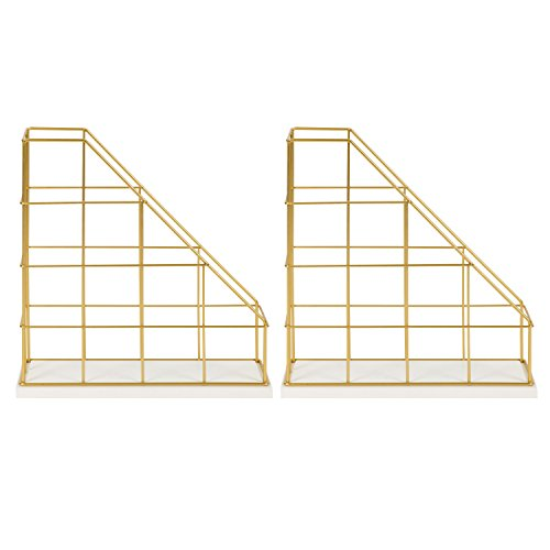 Kate and Laurel Benbrook Metal and Wood Magazine File Holder Desk Organizers, Set of 2, White and Gold by Kate and Laurel (Image #1)