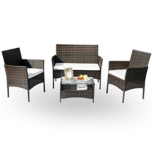 HANs Outdoor Rattan Sofa And Chairs Sets 4PC Garden Lawn Wicker Patio Furniture With Cushioned Seats (Brown) (Dining Garden Furniture Room Terrace)