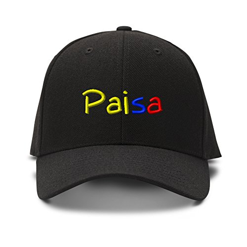 Paisa Colombian Embroidery Embroidered Adjustable Hat Cap Black