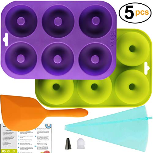 Professional 2-Pack Donut Pan Set | Makes 12 Full Size Donuts, BPA Free, Super Non-Stick | Pack Comes With 1 Spatula and 1 Pastry bag (Purple/Green) by Wappa Kitchen