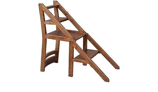 Taburete de madera maciza escalera de silla de la escala escalera plegable escalera taburete escalera de altillo casa: Amazon.es: Deportes y aire libre