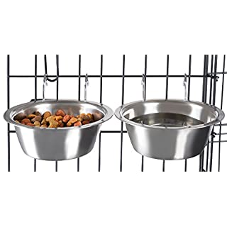 Stainless Steel Hanging Pet Bowls for Dogs and Cats- Cage, Kennel, and Crate Feeder Dish for Food and Water- Set of 2, 20 oz Each By PETMAKER