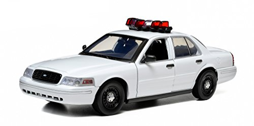 GreenLight Collectibles Ford Crown Victoria Police Interceptor Vehicle with Lights & Sound (1:18 Scale), White