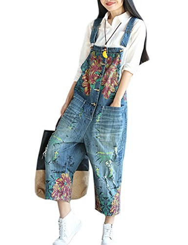 Flygo Women's Loose Floral Printed Distressed Capri Denim Bib Overalls Jumpsuit Rompers with Pockets (One Size, Style 04 ()