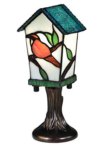 Dale Tiffany STA16121 Bird House Tiffany Accent Table Lamp, Antique Bronze ()