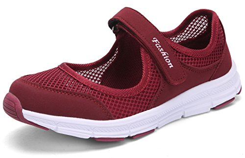 SAGUARO Women's Comfy Breathable Walking Shoes Lady Soft Fashion Mary Jane Sneakers Lightweight Flat Shoes Wine Red