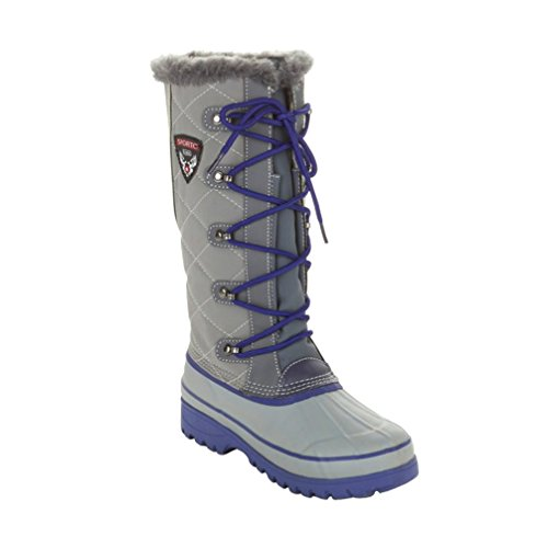 Sporto Womens Curations Tall Quilted Lace-Up Boot Gray/Blue 7M nYknw595Dx