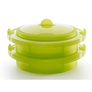 Lekue Layered Silicone Steamer, Green - Large Baking Dishes at amazon