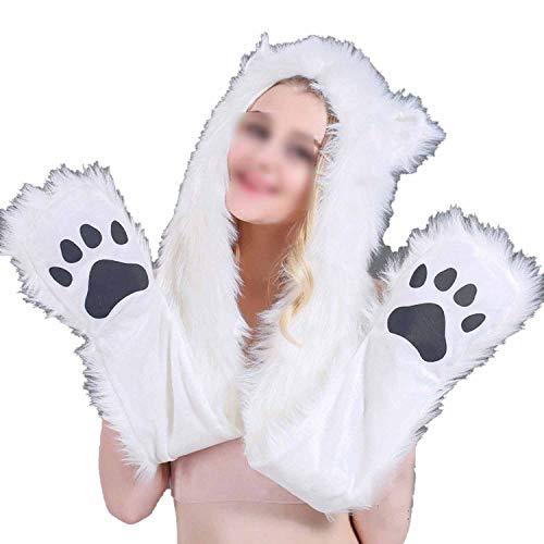 (Cartoon Animal Hat Plush Beanie Fleece Winter Warm Fluffy Hooded Cap Earmuff)