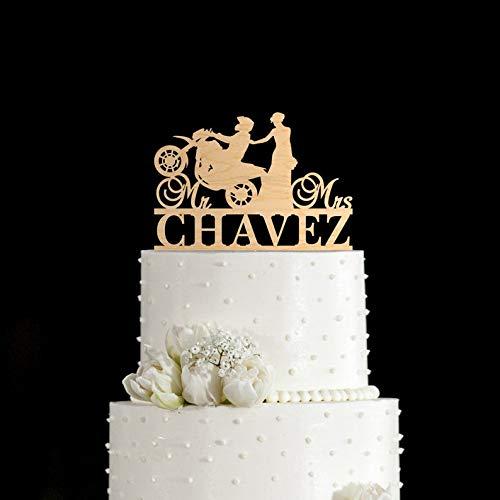 Rliqumq Motorcycle Cake Topper Biker Wedding Cake Topper