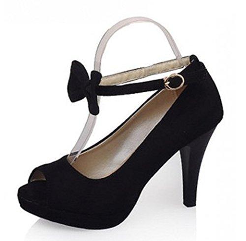 Femme Noir Boucle Nœud Toe Peep Aisun Elégant Sandales pxFwCFfq