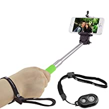 """Extendable Selfie Stick with Bluetooth Remote by CamKix® - With Universal Phone Holder Suitable for iPhone, Samsung, and Devices up to 3.25"""" in Width - Fully Adjustable Monopod 11"""" - 40"""" - Light, Compact, and Easy to Carry(Green with Remote)"""