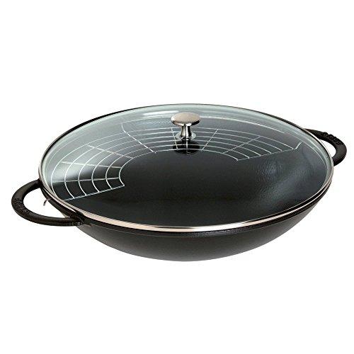 Staub Cast-Iron 7-Quart Wok with Glass Lid, Black by Staub
