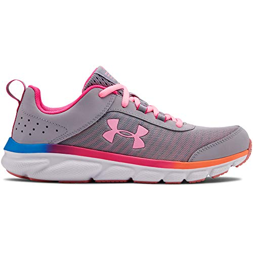 UNDER ARMOUR Kids' Grade School Assert 8 Sneaker, Mod Gray (100)/Pinkadelic, 3.5