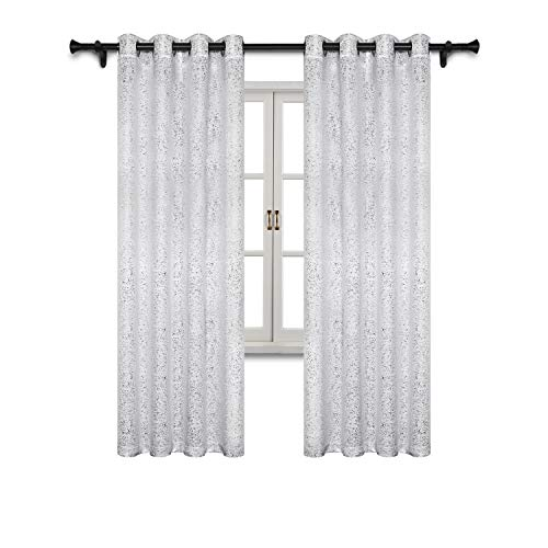 SUO AI TEXTILE Suede Like Metallic Silver Print Darkening Window Treatment Thermal Insulated Curtains (2 Panels, 52×84, White) For Sale