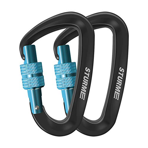 STURME Locking Carabiner Clip -12KN/2697lbs Aluminium Ultra Sturdy & Light, Screwgate Carabiner Heavy Duty for Hammocks Traveling Dog Leash Or Keychain and More (2 Pcs)