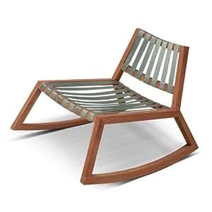 Sway mecedora silla teca/gris azul