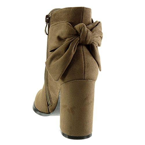 Angkorly - Zapatillas de Moda Botines mujer nodo Talón Tacón ancho alto 9 CM - plantilla Forrada de Piel Caqui