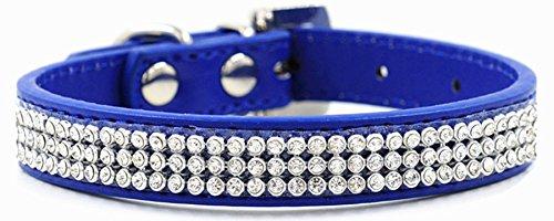 - Bling Rhinestone Dog Pet Cat Puppy Pu Leather Collar Crystal Diamonds size S M