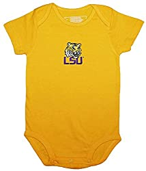 LSU Tigers Gold NCAA College Newborn Infant Infant Baby Creeper (12 Months )