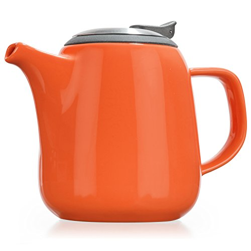 Tealyra Daze - Ceramic Teapot with Infuser Strainer - Drip-Less Spout - Lead & BPA Free - High-Fired Ceramic - Dishwasher Safe - Stainless Steel Lid - Orange (24oz / 700ml)