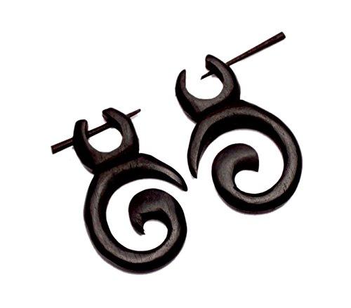 [A Pair of Coco Wood Wooden Danglers Boho Hippie Earrings Sew_97] (Fancy Dress Krishna Costume)